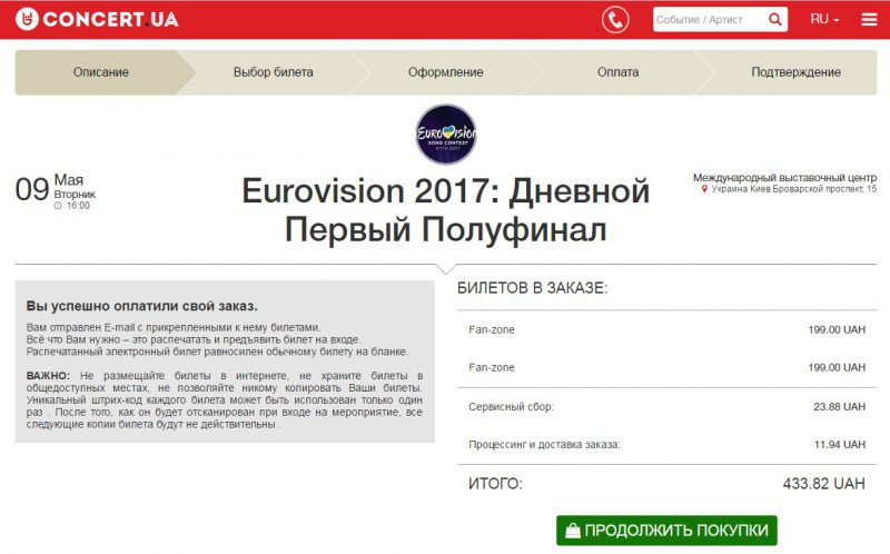 квиток на євробачення